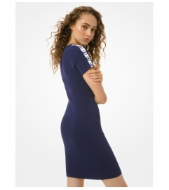 MICHAEL Michael Kors Logo Tape Ribbed Stretch Viscose Dress