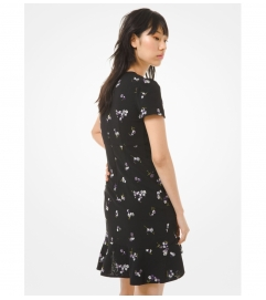 MICHAEL Michael Kors Floral Embroidered Crepe Flounce Dress