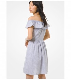 MICHAEL Michael Kors Striped Linen and Cotton Off-The-Shoulder Dress