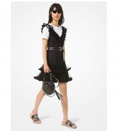 MICHAEL Michael Kors Flocked Tulle Ruffle Dress