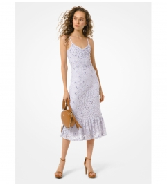 MICHAEL Michael Kors Embellished Corded Lace Ruffle-Hem Dress