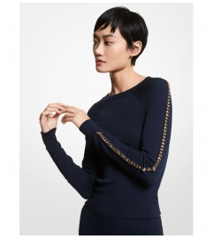 MICHAEL Michael Kors Chain Link Stretch Viscose Sweater