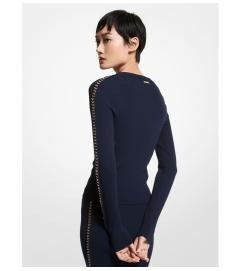 MICHAEL Michael Kors Chain Link Stretch Viscose Sweater