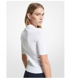 MICHAEL Michael Kors Ribbed Stretch Viscose Polo Sweater