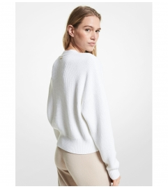MICHAEL Michael Kors Ribbed Supima Cotton Cropped Cardigan