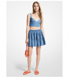 MICHAEL Michael Kors Chambray Tiered Mini Skirt