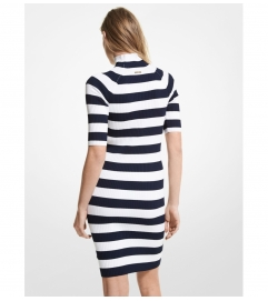 MICHAEL Michael Kors Striped Stretch Viscose Turtleneck Dress