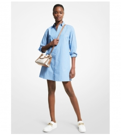 MICHAEL Michael Kors Striped Stretch Cotton Poplin Shirtdress
