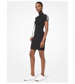 MICHAEL Michael Kors Logo Tape Ribbed Stretch Viscose Half-Zip Dress