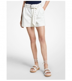 MICHAEL Michael Kors Stretch Denim Belted Shorts