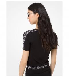 MICHAEL Michael Kors Logo Tape Stretch-Viscose Cropped T-Shirt