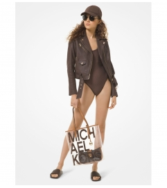 MICHAEL Michael Kors Logo Print Leather Moto Jacket