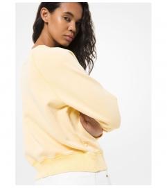 MICHAEL Michael Kors Embellished Logo Acid Wash Cotton Terry Sweatshirt