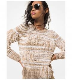 MICHAEL Michael Kors Fringed Marled Cotton Blend Sweater