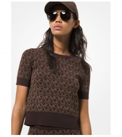 MICHAEL Michael Kors Logo Jacquard Short-Sleeve Sweater