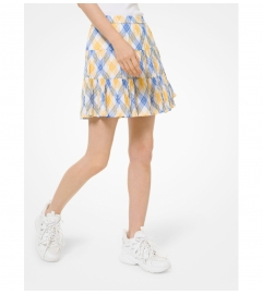 MICHAEL Michael Kors Plaid Crinkled Cotton Lawn Skirt