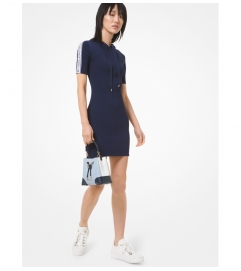 MICHAEL Michael Kors Logo Tape Ribbed Stretch Viscose Hoodie Dress