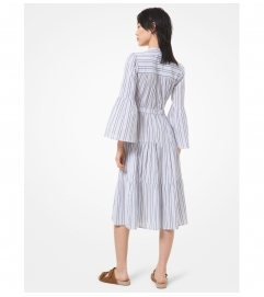 MICHAEL Michael Kors Striped Cotton Gauze Tiered Dress