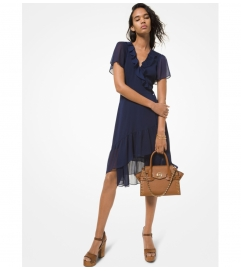 MICHAEL Michael Kors Crinkled Georgette Wrap Dress