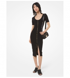 MICHAEL Michael Kors Stretch Viscose Snap-Front Dress