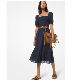 MICHAEL Michael Kors Smocked Cotton Lawn Puff-Sleeve Dress