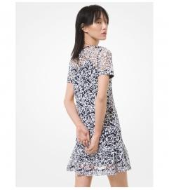 MICHAEL Michael Kors Floral Sequined Ruffle-Hem Dress