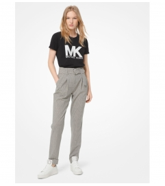 MICHAEL Michael Kors Tattersall Stretch-Wool Belted Trousers