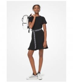 MICHAEL Michael Kors Logo Tape Belted Flounce Dress